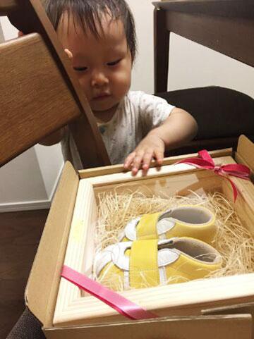 初めてのお靴を興味津々で見つめる赤ちゃん