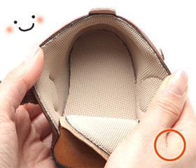 肌触りの優しいインナー素材を使って作られたベビー靴